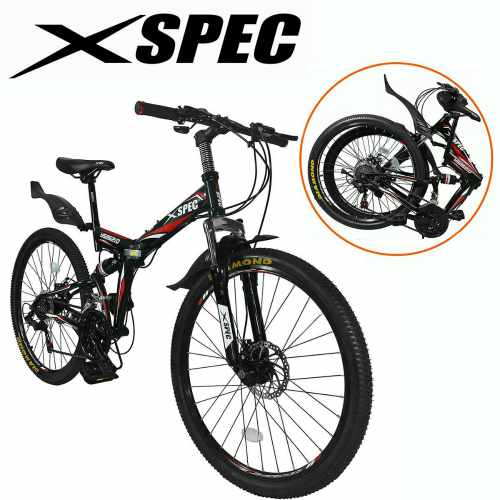 Xspec 21-Speed Folding Mountain Trail Bicycle